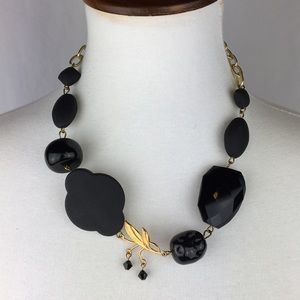GAY ISBER Gold Black Adjustable Eclectic Necklace